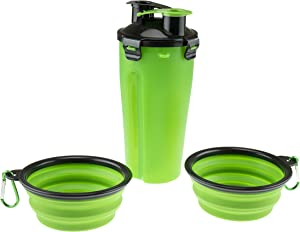 2-in-1 Portable Dog Water Bottle with Silicone Collapsible Pet Food Bowls for Walking, Hiking, Camping, Travel and Other Outdoor Activities, Green