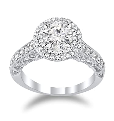 2b782aea9 2.77 Carat t.w. Double Halo Vintage Designer Diamond Engagement Ring with a  2 Ct Forever One