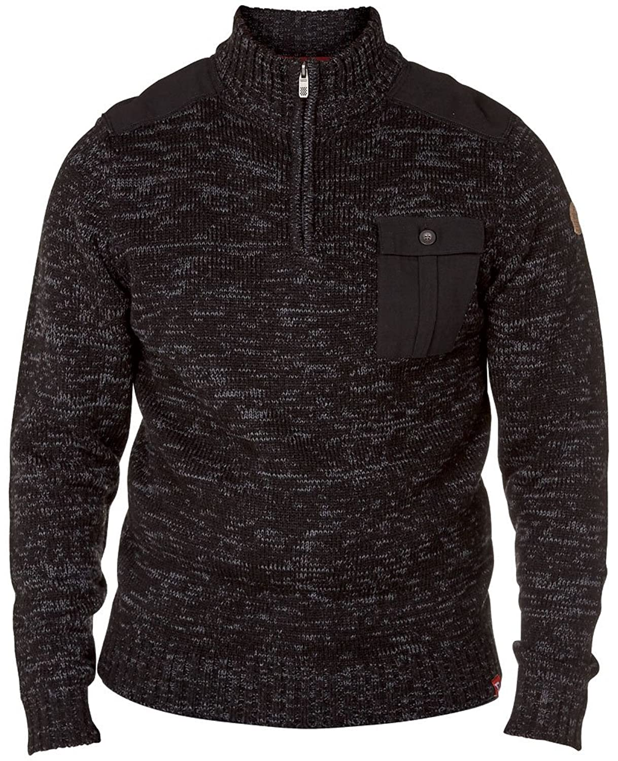 Mens King Size Knitted Jumper Duke Frost Top With Woven Shoulder & Chest Pocket