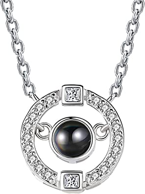 AMDXD Jewelry Silver Plated Women Pendant Necklace Cubic Zirconia Key of Heart as Birthday Gift