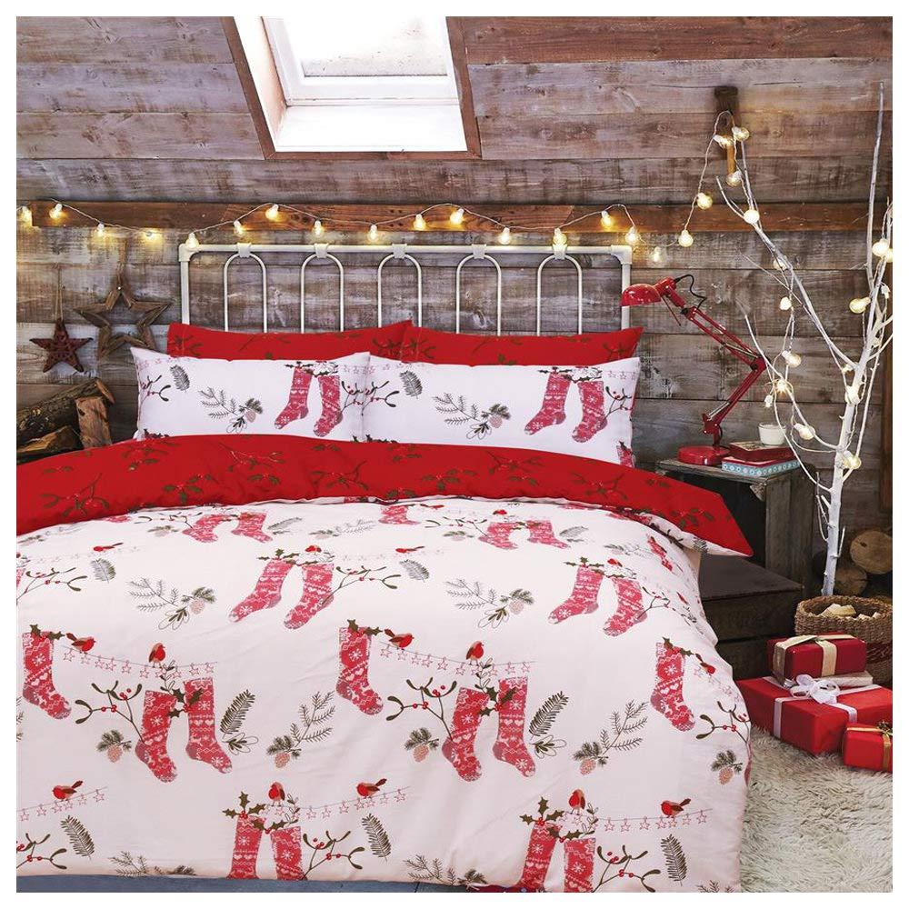 Christmas Duvet Cover Double Bed with Pillowcases Quilt Bedding Set Reversible Poly Cotton, Winter Wonderland De Lavish