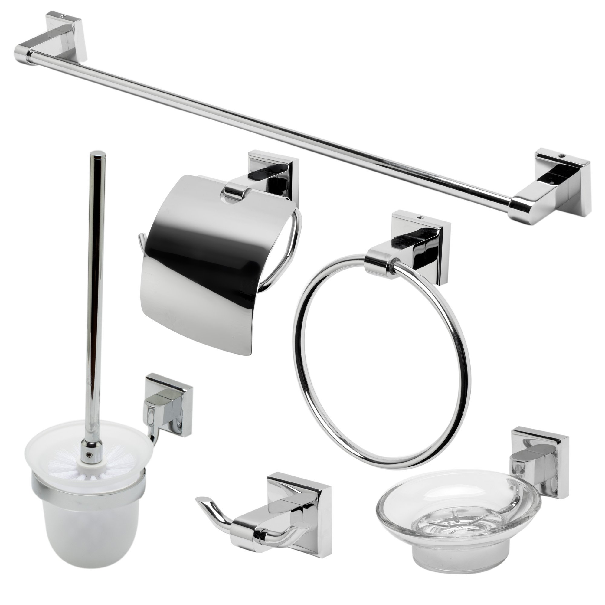 ALFI brand AB9509-PC Matching Bathroom Accessory Set (6 Piece), Polished Chrome