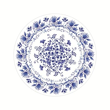 Decorative Coasters Lotus.flower Chinese Style Blue and White Porcelain Pattern Cup Mat Circle  sc 1 st  Amazon.com : lotus flower dinnerware - pezcame.com