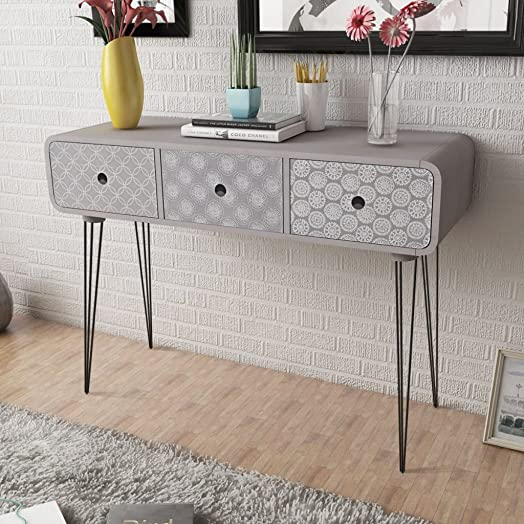 Anself Shabby Chic Console Table Side Cabinet 3 Drawers for Living ...
