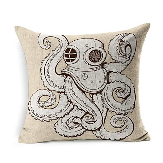 Funda de Almohada de Lino Cuadrada Beige Diver Octopus Traje ...