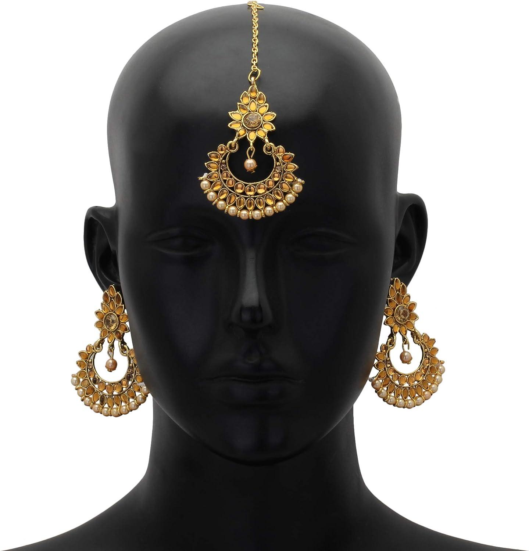 Jwellmart Womens Ethnic Collection Pearl Kundan Maang tikka Yellow