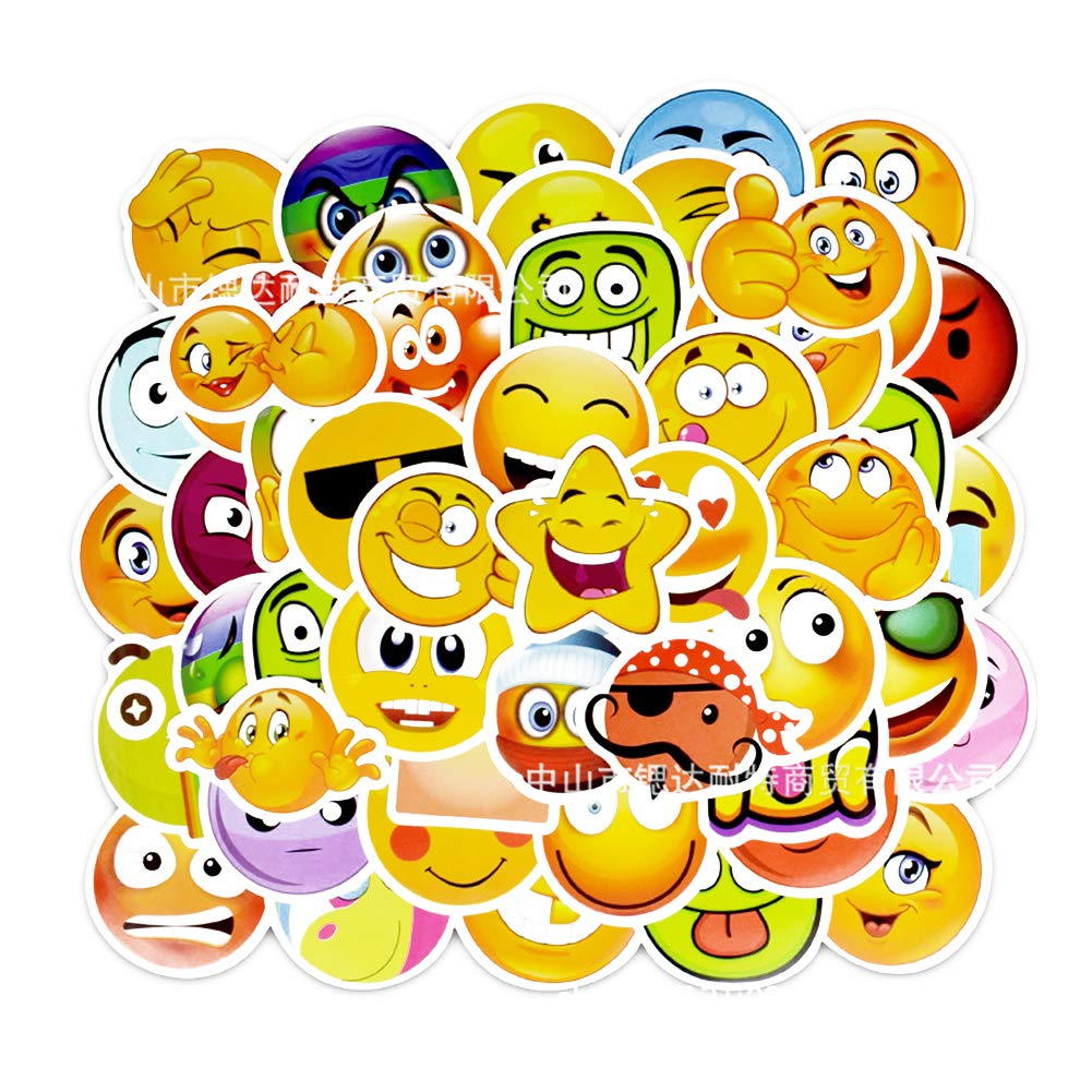 AzuNaisi 1set (50pcs) Emoji Estilo de Dibujos Animados de Coches a Prueba de Agua Pegatinas Adhesivos de PVC para monopatí n Equipaje Motocicleta del Coche de Parachoques de Bicicletas