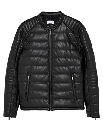 pick up big sale really comfortable Zara Men's Faux Leather Puffer Jacket 8281/469: Amazon.co.uk ...