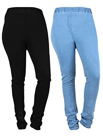 7f58606962f04 Danbro Womens Denim Jeggings Light Blue and Black (Waist 30 inches) (Pack of