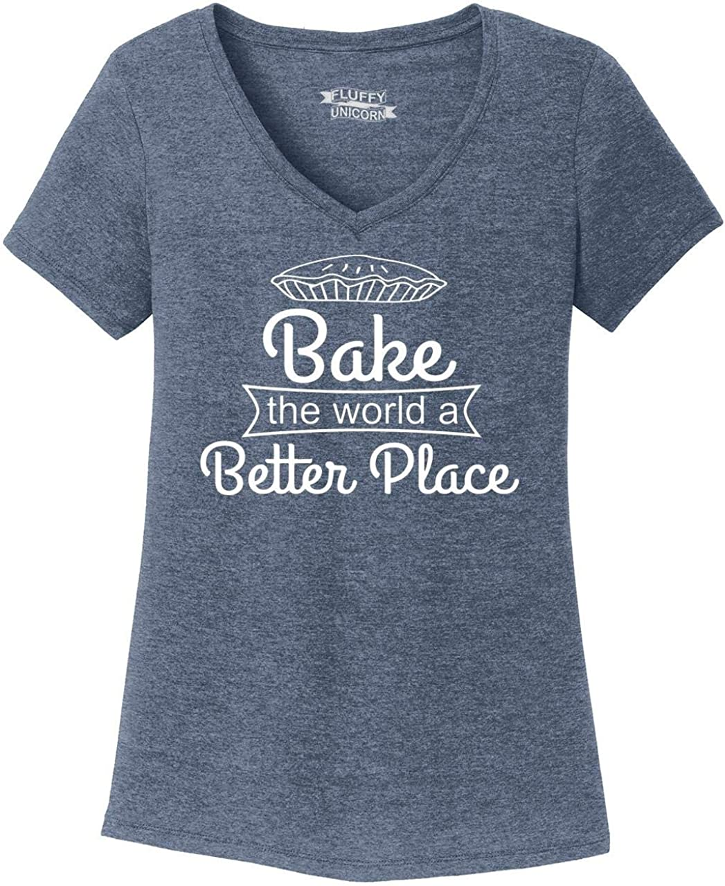 Comical Shirt Ladies Bake The World A Better Place Triblend V-Neck