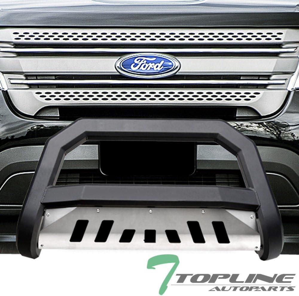 Topline Autopart Matte Black AVT Style Bull Bar Brush Push Front Bumper Grill Grille Guard With Aluminum Skid Plate For 11-19 Ford Explorer