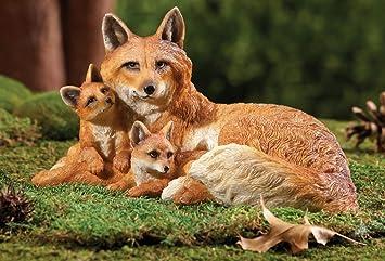 Northwoods Fox Family Outdoor Garden Figurine