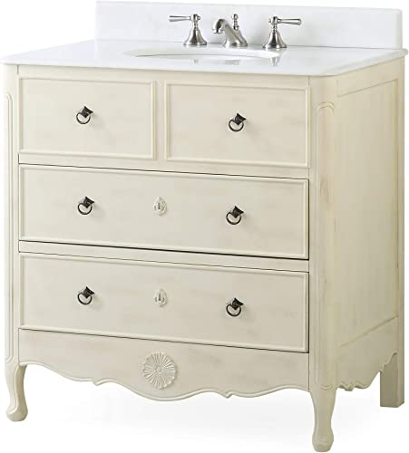 34 Benton Collection Cottage Look Daleville Bathroom Sink Vanity Model HF081WP Distressed Cream