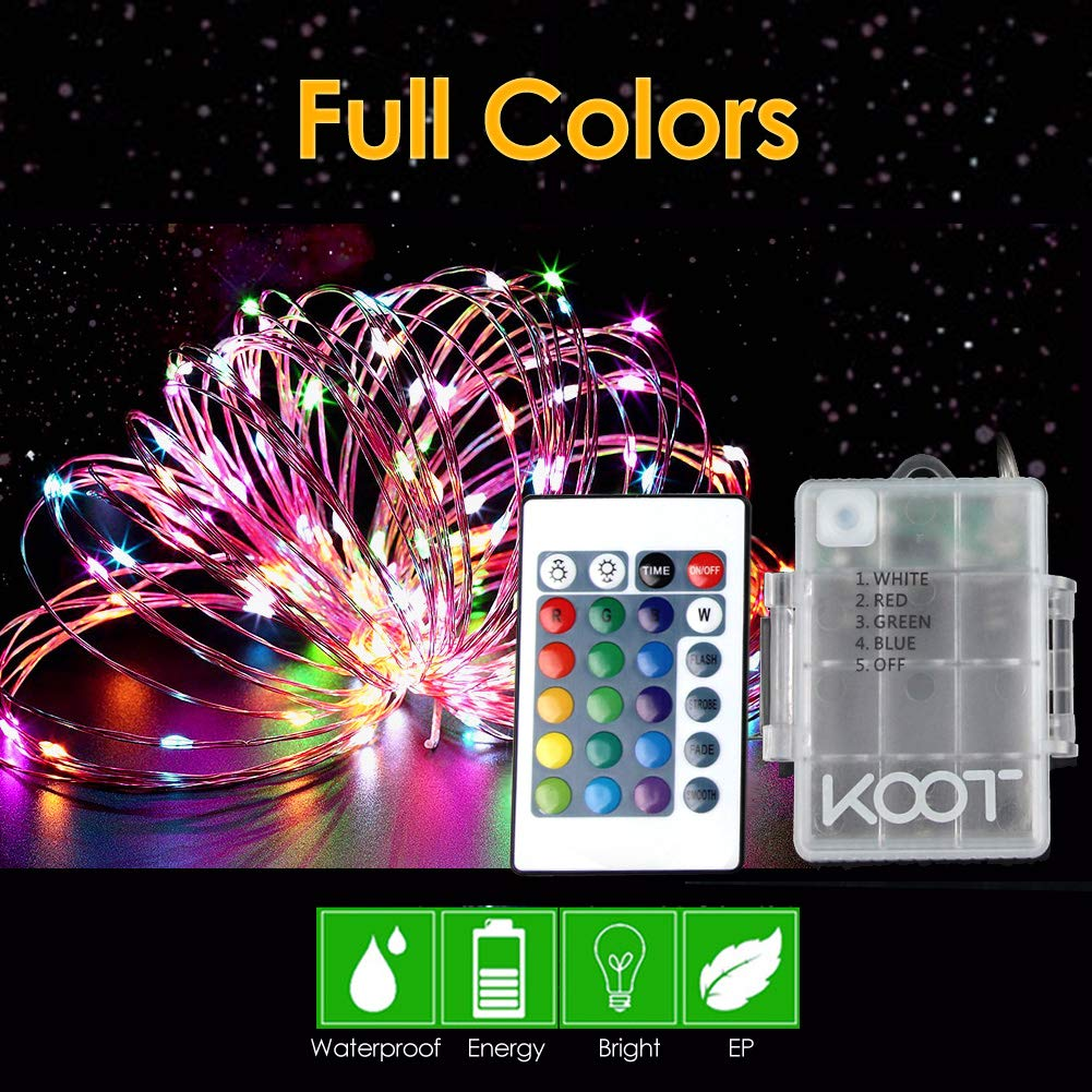 KOOT LED String Light,33 ft with 100 LEDs Waterproof Indoor or Outdoor Multi Color Changing Fairy Starry Silver Wire Best for Bedroom Garden Patio Party Centerpiece Halloween Christmas Tree