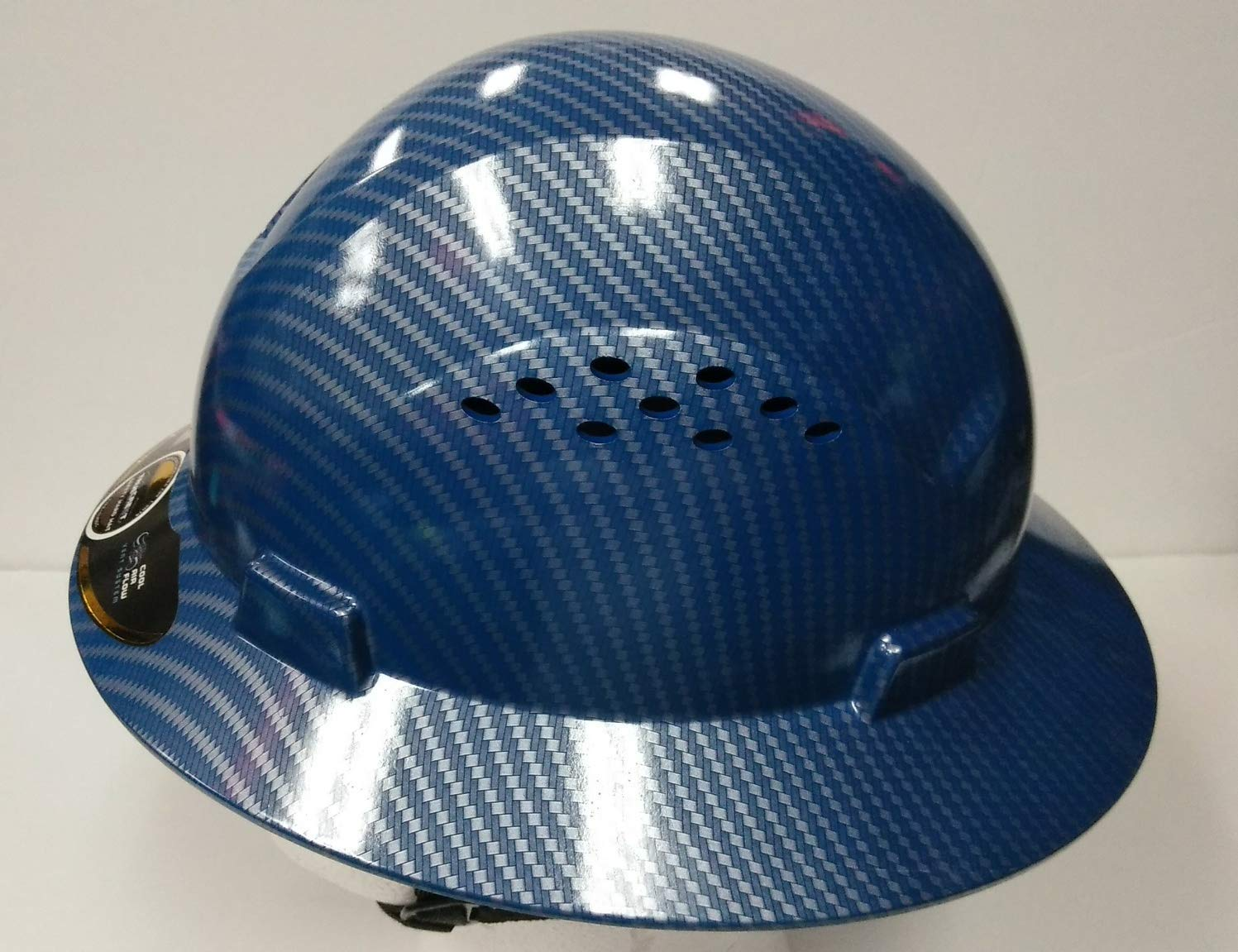 HNTE-Blue/Black Fiberglass Hard Hat Safety Full Brim Helmet, Nylon Ratchet Suspension, 4-Point, {Top Impact} Safety Hard Hat Cool Air Flow Vent System by true-Safety Helmet