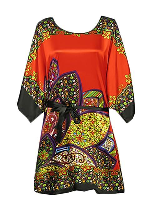 Laisla fashion Pijama Mujer De Verano Media Manga Cuello Redondo Vestido Corto Impresión Clásico Especial Vintage