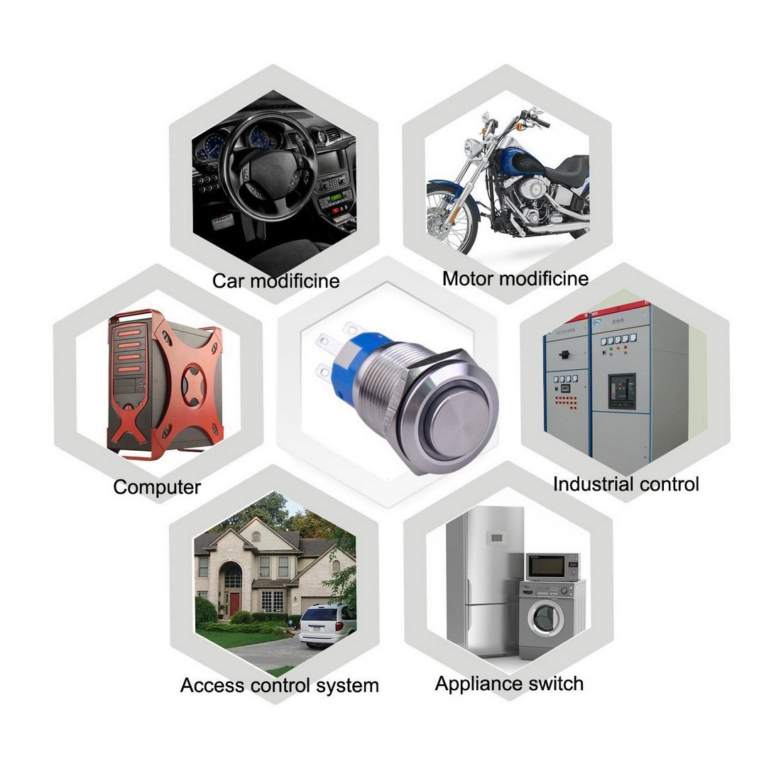 WerFamily 16mm Momentary Push Button Switch 1NO 1NC ON//Off Waterproof Metal Round with Blue LED Angel Eye