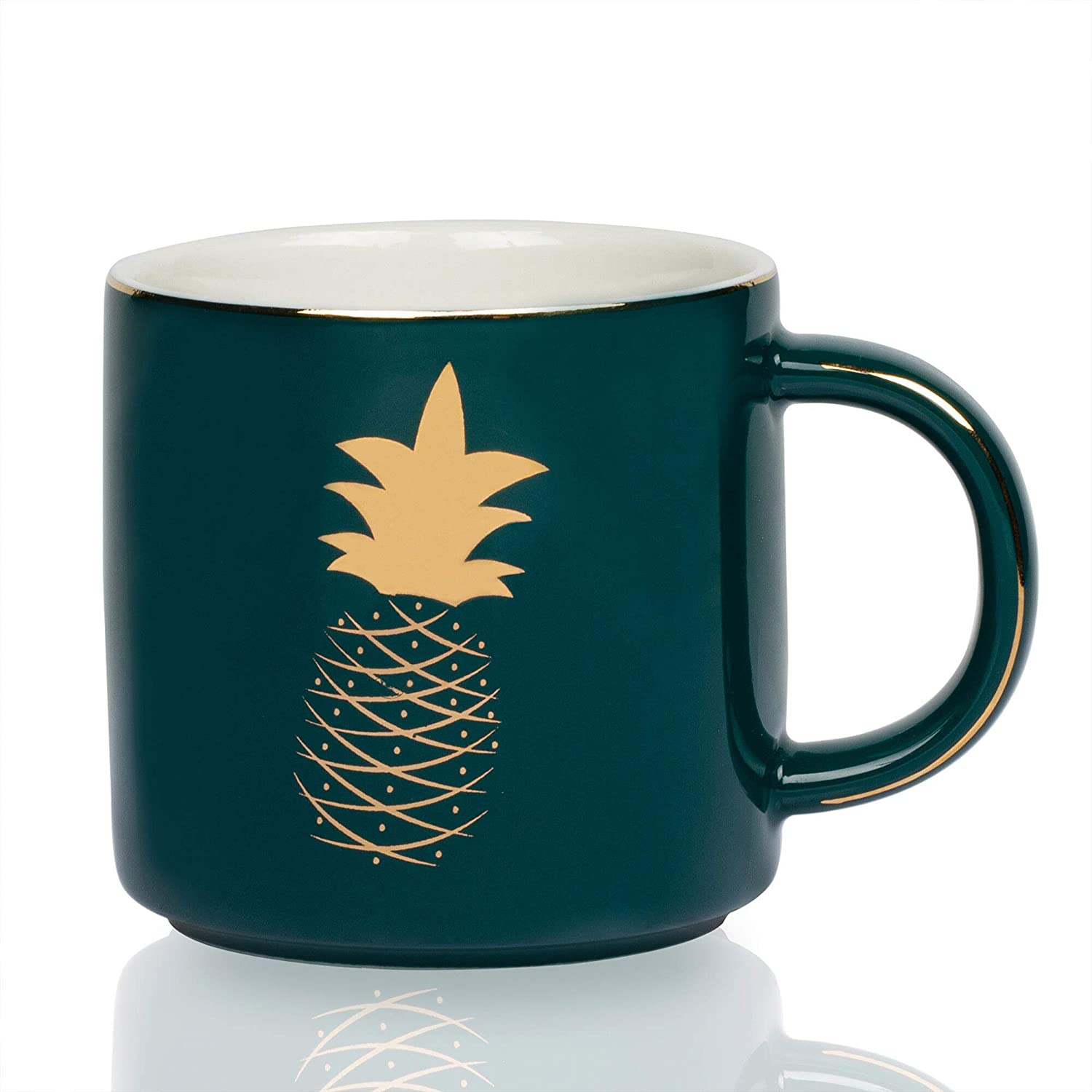 Onebttl Pineapple Coffee Mugs - Pineapple Drinking Cup - 12oz - Great Pineapple Gifts for Women, Sister, Girls or Teen - Dark Green