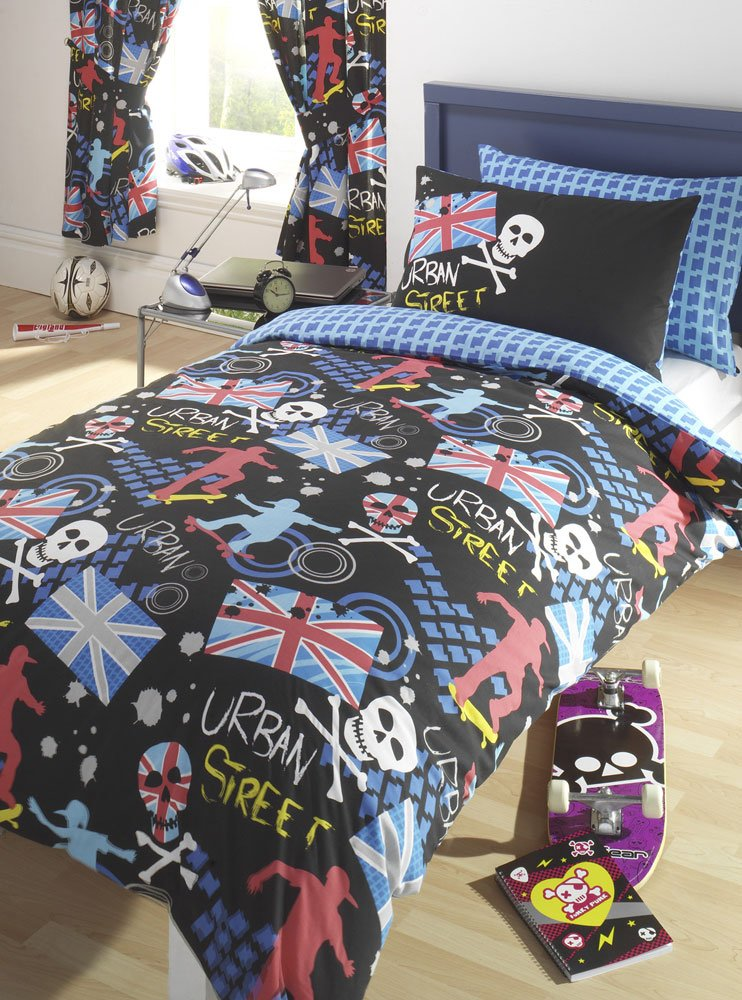 SKATEBOARDING THEMED BED SETS IN SINGLE OR DOUBLE SIZE Single Duvet Set Curtains 66x72 Amazoncouk Kitchen Home