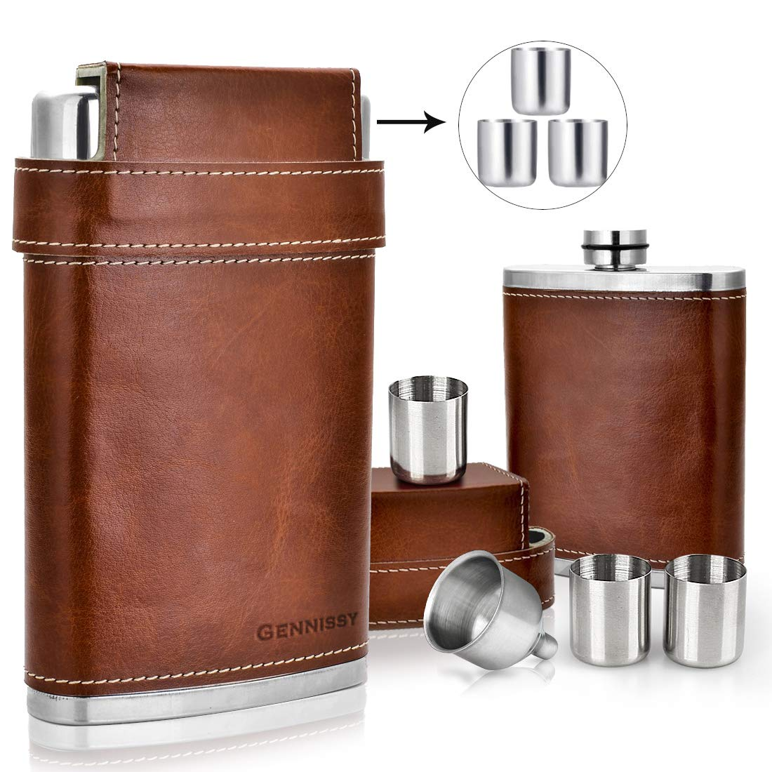 GENNISSY 304 18/8 Stainless Steel 8oz Flask - Brown Leather with 3 Cups and Funnel 100% Leak Proof by GENNISSY