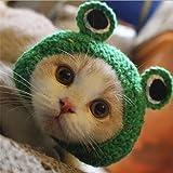 QZSKY 犬猫用ウィッグ 蛙帽子 ペットのおもちゃ ペット帽子 ペット変身 猫コスプレキャップ 猫用おもちゃ