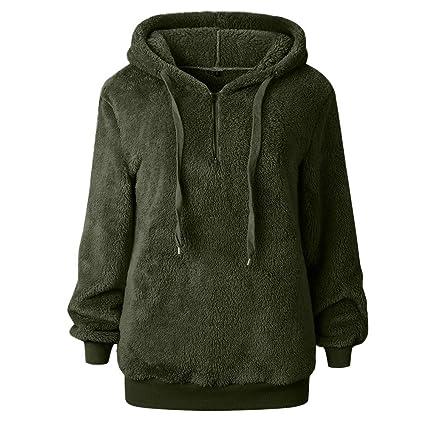 bc258f69779 Muranba Plus Size Women Winter Warm Wool Hooded Sweatshirt Coat (Army Green