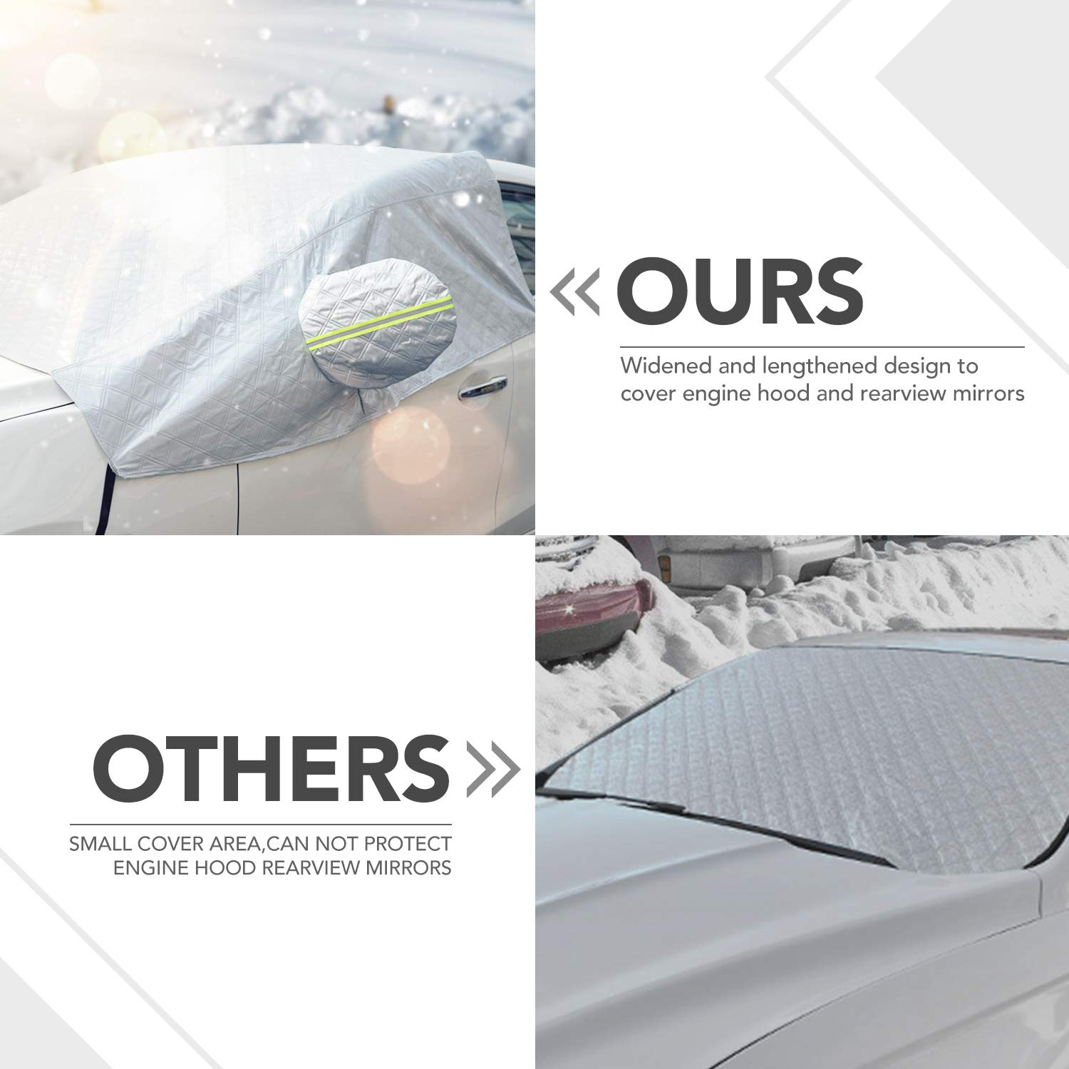 Windshield Snow Cover Windscreen Ice Cover with Rearview Mirror Protector Windshield Guard Extra Large Half Car Cover with Hook and Straps All Weather Auto Sun Shade Fit Most Car Truck SUV Van Sedan