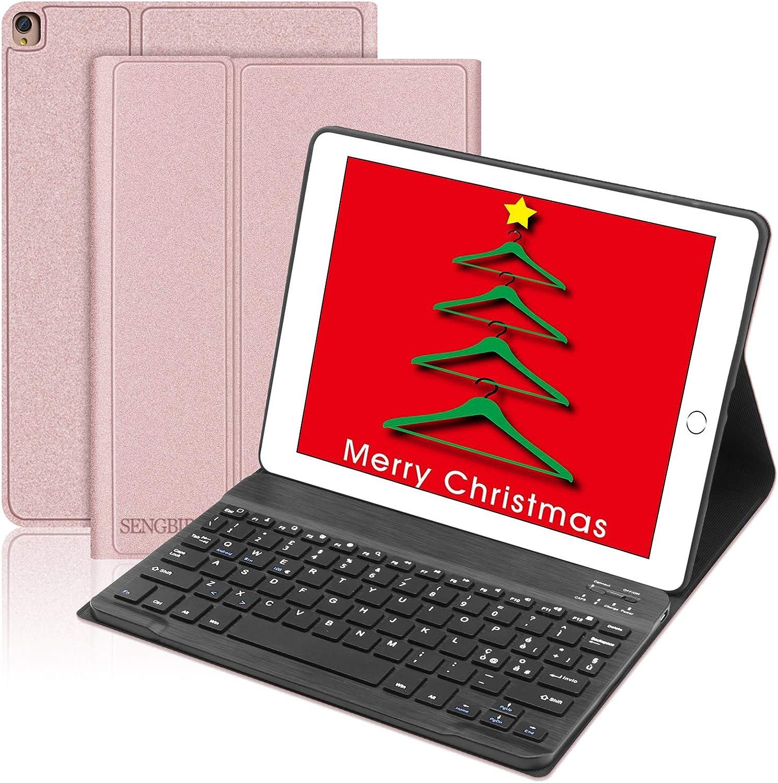 SENGBIRCH - Funda con teclado italiano para iPad 10.2 2019 (7ª generación)/iPad Air 3/iPad Pro 10.5, con imán Smart Auto Wake / Sleep Cover - Oro rosa