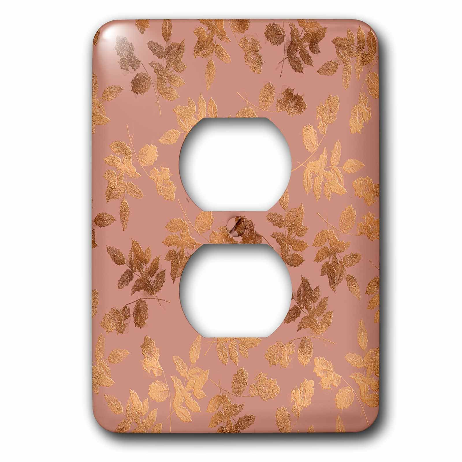 3dRose Uta Naumann Faux Glitter Pattern - Luxury Rose Gold Copper Damask Pattern - Light Switch Covers - 2 plug outlet cover (lsp_272884_6)