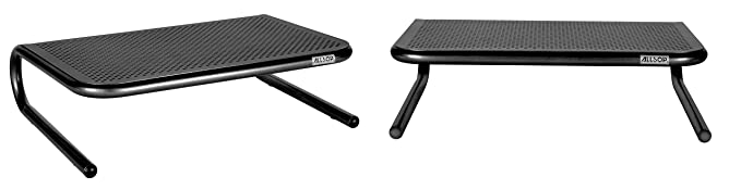 Allsop Metal Art Jr. Monitor Stand, 14 Inch Wide Platform Holds 40 Lbs With Keyboard Storage Space   Pearl Black (30165) by Allsop