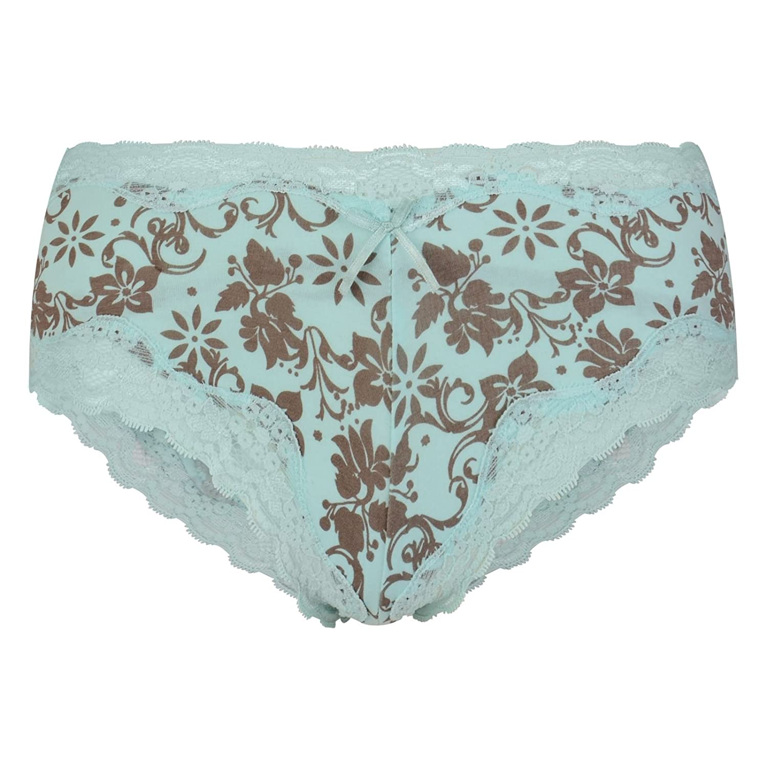 36f0db4c25c Ladies French Knickers Womens Boy Shorts Style Briefs Pretty Lace Trimmed Floral  Lingerie Nightwear Underwear Sizes 10-12  Amazon.co.uk  Clothing
