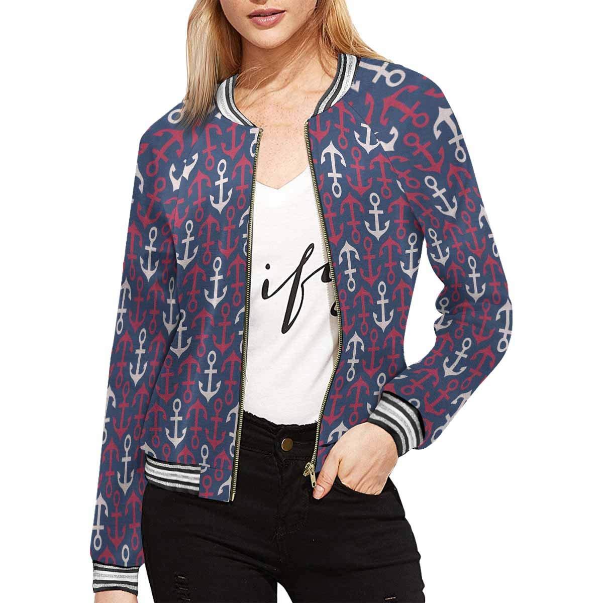 INTERESTPRINT Womens Stylish Anchor Blue Red White Jacket Coat
