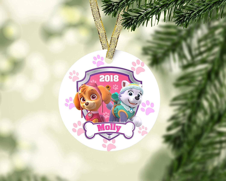 Mesllings Paw Patrol Christmas Ornament Everest Ornament Skye Ornament Kid Christmas Ornament Baby First Christmas Personalized Christmas Ornament