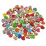 100pcs Multicolored Heart Shaped 2 Holes Wood Sewing Buttons