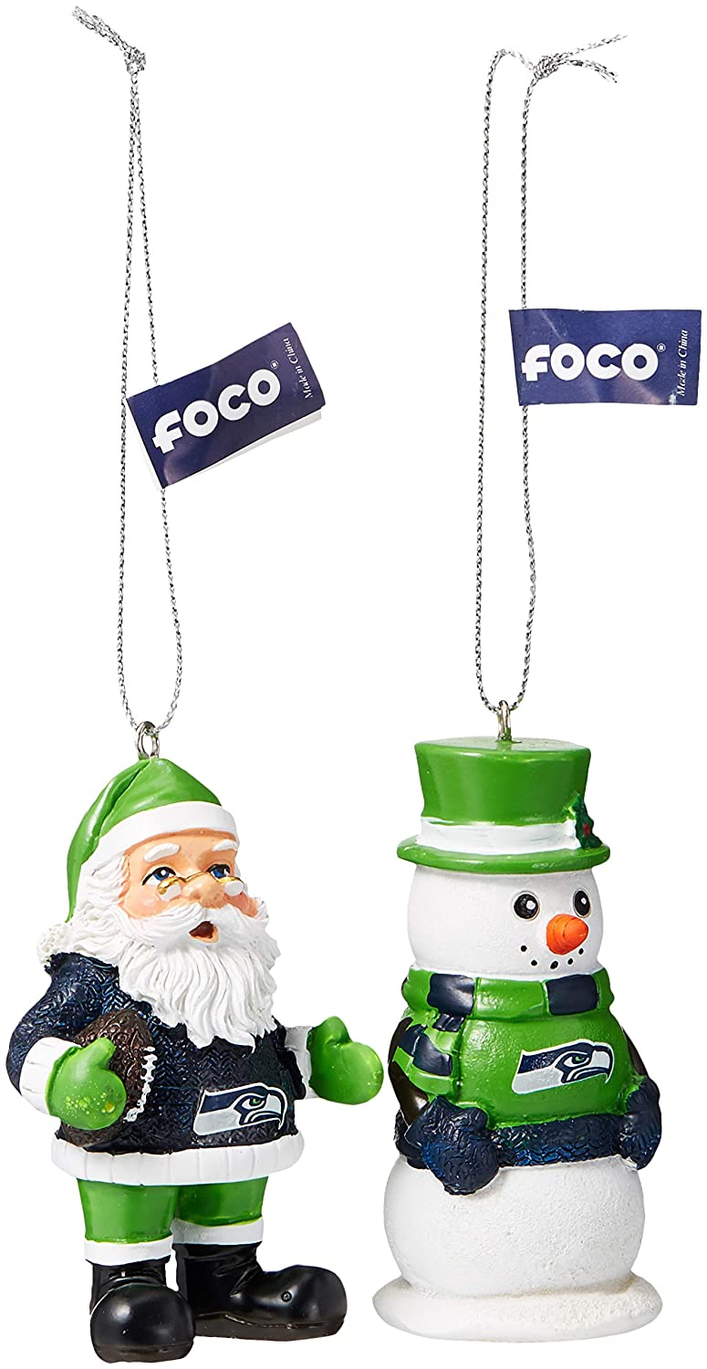 Seattle Seahawks St Nick And Snowman 2 Pack Ornament Set