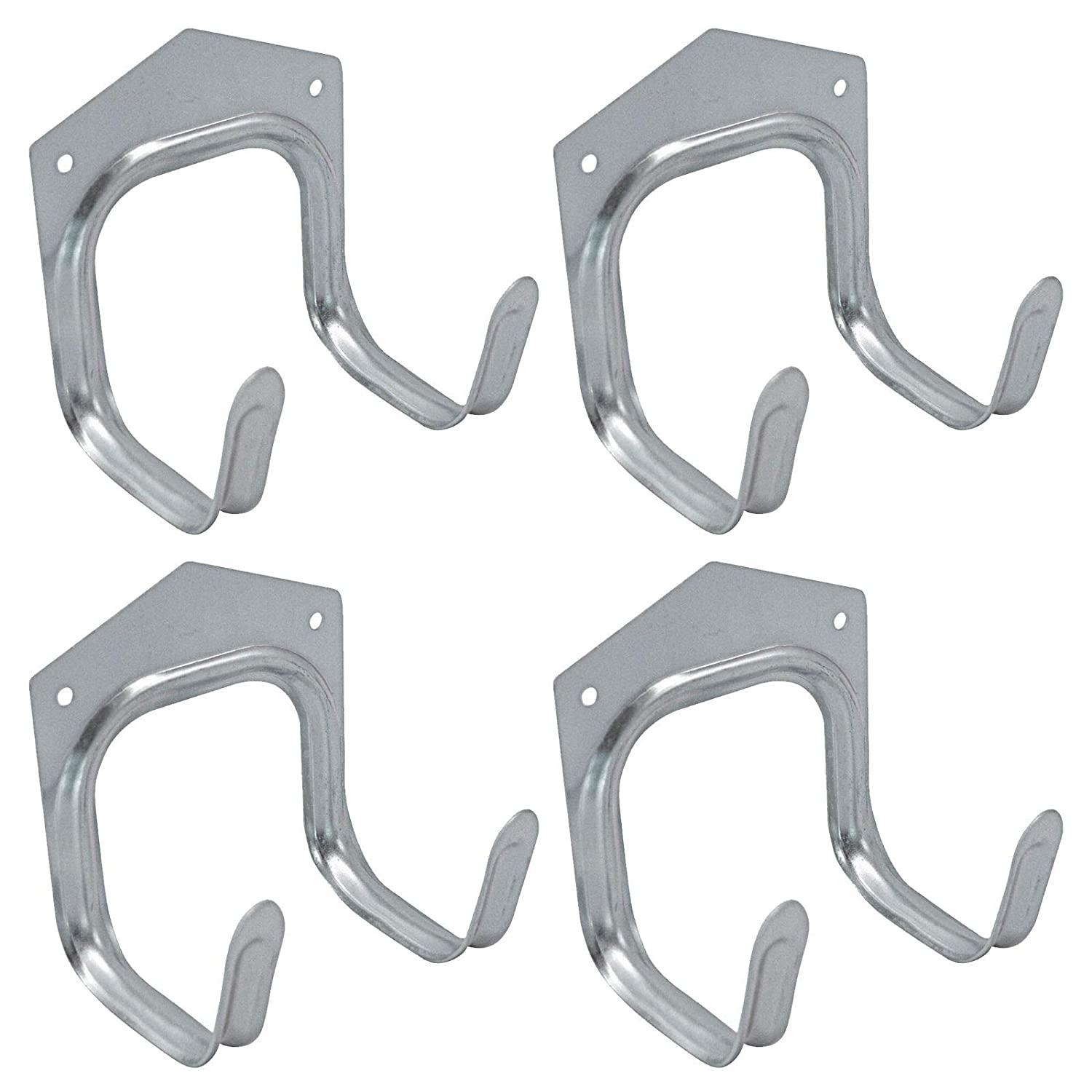 ASAB 4pk Wall Mounted Hanging Storage Hooks Galvanised Steel Ladder Rack Bike Garden Shed Tools Spade Fork Garage Tidy