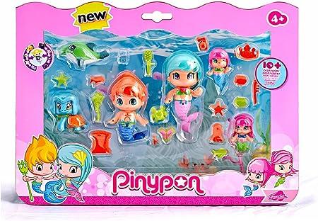 Para jugar al mundo mágico de las sirenas con Pinypon,Pack grande de 6 diferentes figuras,Incluye 2