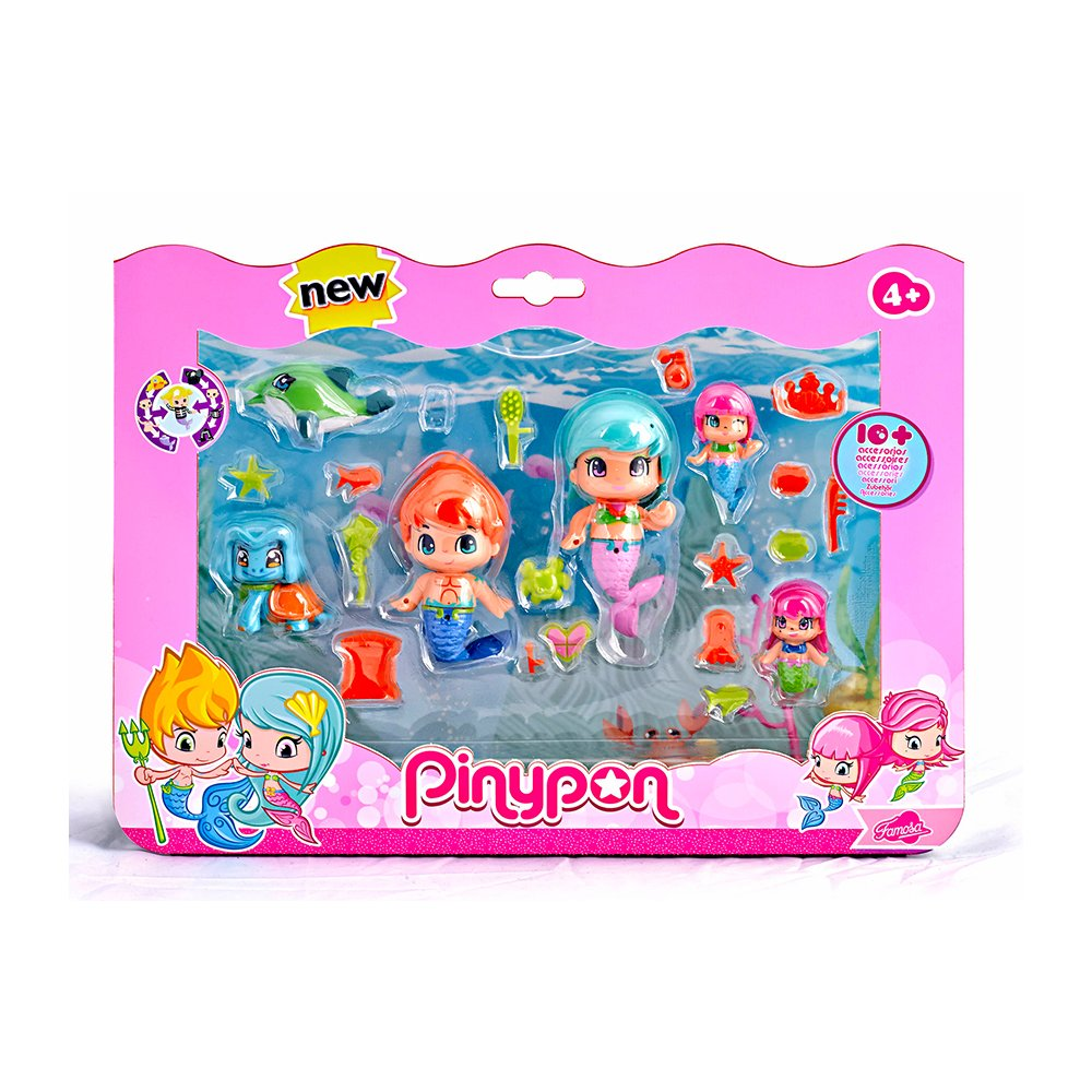 Pinypon - 700013366 - Mini Poupée - Coffret 3 Figurines Pirate et Sirenes Famosa