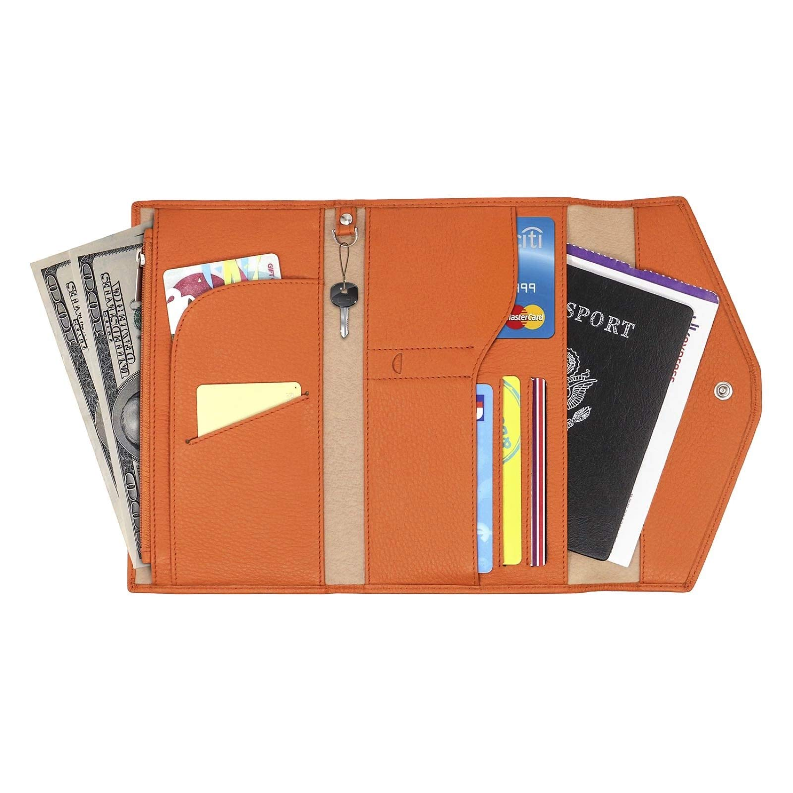 Genuine Leather RFID Blocking Passport Travel Wallet - Card Organizer