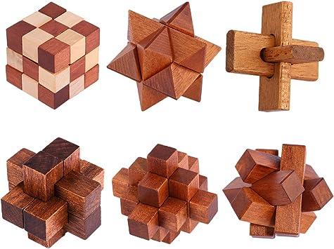 FOKOM Puzzle Madera, 6 Pack Puzzles 3D Juegos de Ingenio Juegos de Mesa Juego IQ Juguete Educativos Habilidad Juego Logica Calendario de Adviento para Niños y Adultos: Amazon.es: Juguetes y juegos