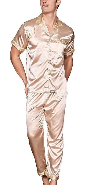 Yanqinger Set de 2 Piezas Pijamas Satén para Hombre Elegante Clásico  Sleepwear con Mangas Corta Pantalones Larga Fresco Respirable Verano -  Talla XL  ... 223f4cfcd771