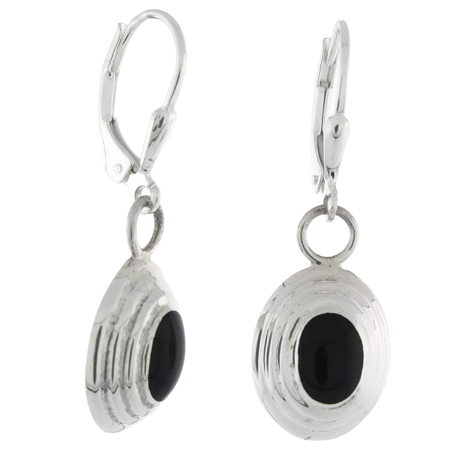 Sterling Silver Oval Cabochon Black Onyx Dangling Lever Back Earrings