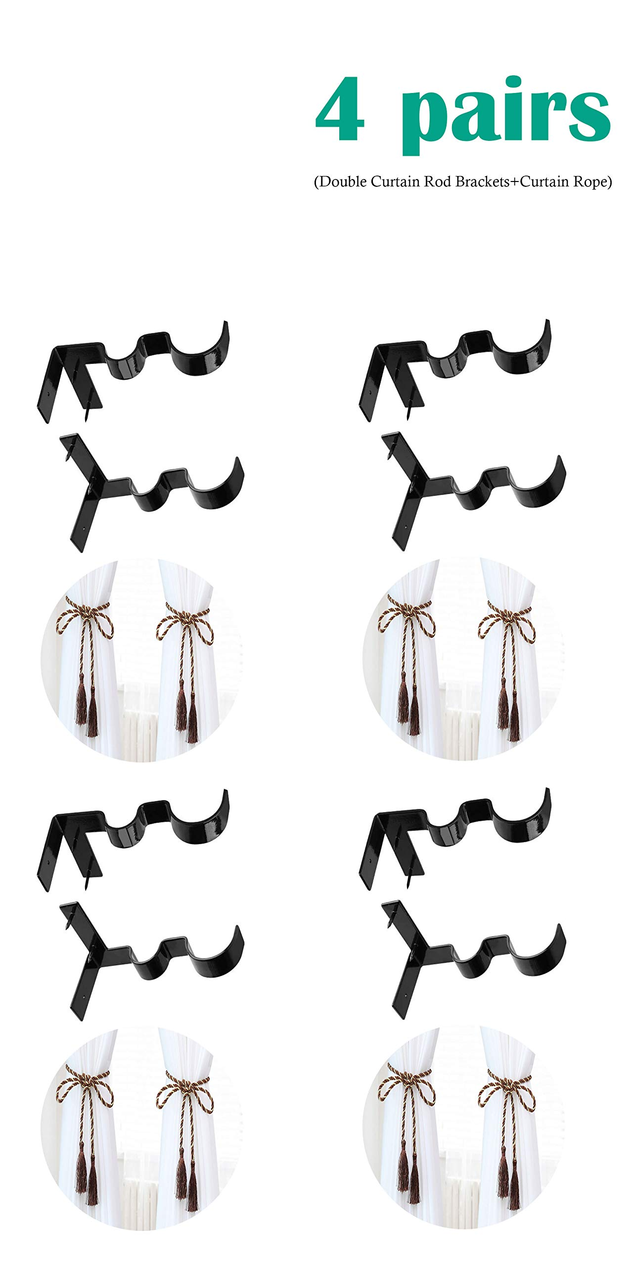 Tamicy Dual Curtain Rod Brackets 4 Sets(8Pcs) - Hang Double Center Hang Curtain Rod Holders No Drilling Tap Right Into Window Frame for Bedroom Window Decoration (4) by Tamicy