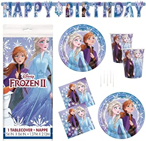 Frozen 2 Party Supplies Set - Serves 16 - Includes Banner Decoration, Tablecover, Large Plates, Napkins, Cups and Candles