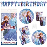 Frozen 2 Party Supplies Set - Serves 16 - Includes Banner Decoration, Tablecover, Large Plates, Napkins, Cups and…