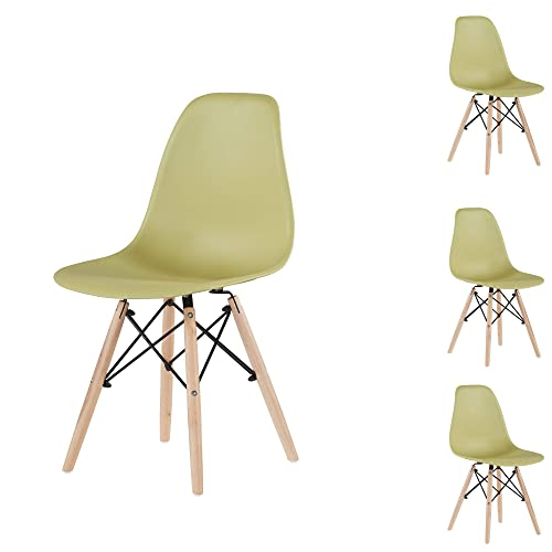 EiioX Plastic Wooden Legs Set of 4, Pre Assembled Indoor Armless Kitchen, Dining, Bedroom, Living Room Side Chairs, Green