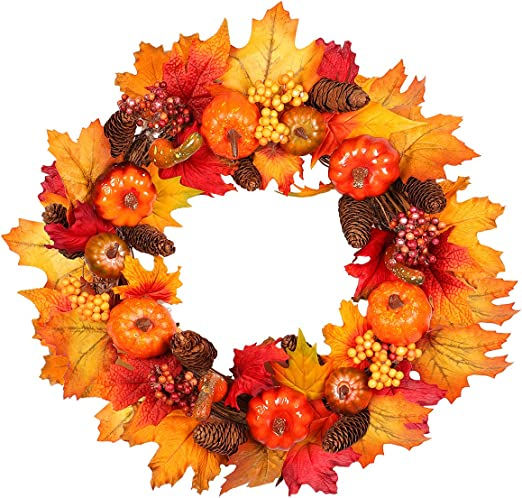Amazon Com Fall Wreath 16 Inch Artificial Fall Wreath For Front Door Christmas Wreaths With Pumpkins Pinecone Maple Leaf And Berry Halloween Easter Wreath Thanksgiving Day Indoor Or Outdoor Decoration Kitchen Dining