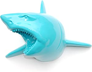 Near and Deer Faux Taxidermy Shark Wall Mount, Large, Turquoise