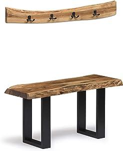 "Alaterre Furniture Alpine Natural Live Edge 36"" Coat Bench and Hook Set"