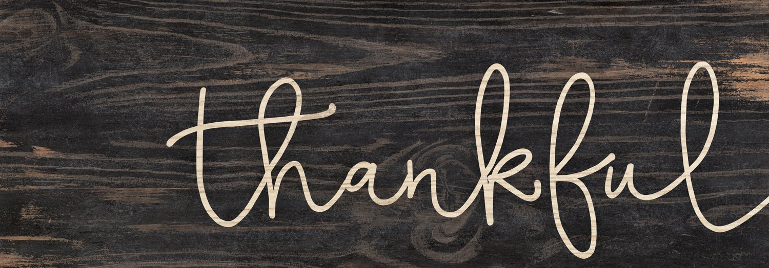 Thankful Script Design Black Distressed 16 x 6 Inch Solid Pine Wood Plank Wall Plaque Sign